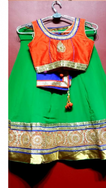 Bright Green Lehenga With Contrast Blouse